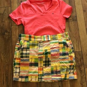 J Crew, patchwork mini skirt. Pink top. Medium